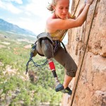 Three Beats One: For Christa Brelsford, it was easier to climb at first than walk with her prosthetic. Photo: Caroline Treadway