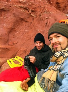"""The author and Adam """"Pappy"""" Papilion on the bivi ledge, about 800 feet up the Titan."""