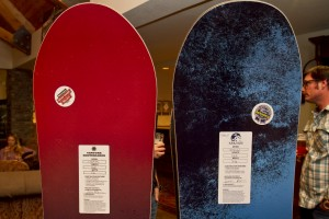 Venture Snowboards, a Silverton, CO based manufacturer,  shows off models at Winter Gear Forum in the Hotel Telluride lobby.