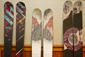 Rocky Mountain Underground Skis, a Breckenridge, CO based manufacturer,  shows off models at Winter Gear Forum in the Hotel Telluride lobby.