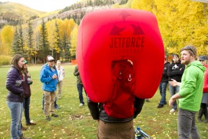 A deployed Black Diamond Jet Force back pack is displayed for Winter Gear Forum attendees in Town Park, Telluride, CO