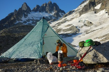 Dry, stable, light, and packable -- the UltaMid 4 at base camp, Eldorado Peak