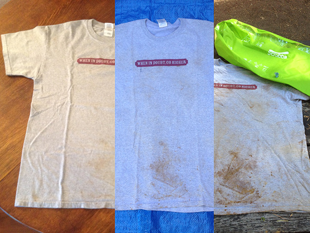 The Scrubba - a travel washer: Here are the three phases of wash side by side, right to left: dirty shirt, Scrubba cleaned shirt and machine washed shirt.