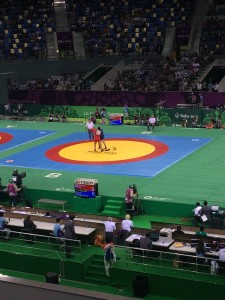 Sambo fighting at the Heydar Aliyev arena in Baku, Azerbaijan.