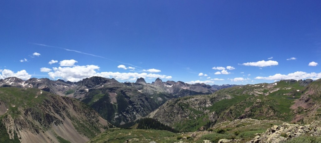 Panorama of the Grenadiers from Verde Lakes. Vestal Peak is just left of center, Arrow is just to the right