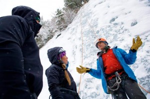 San Juan Mountain Guides explain the basics to his clinic for the day